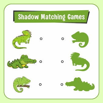 Shadow matching games dieren reptielen hagedis