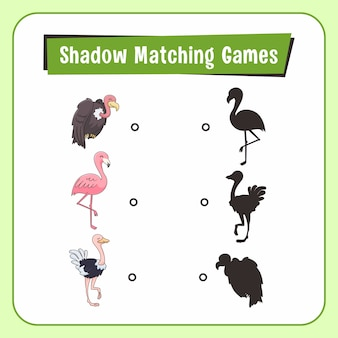 Shadow matching games dieren struisvogel gier flamingo bird