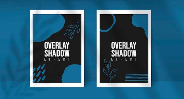Shadow overlay plant vector mockup twee a4-papier vellen. schaduwen overlappen blad- en raamlichteffecten. moderne minimalistische stijl. voor presentatie flyer, poster, blanco, logo, uitnodiging. bewerkbare kleur