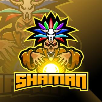 Shaman sport mascotte logo ontwerp