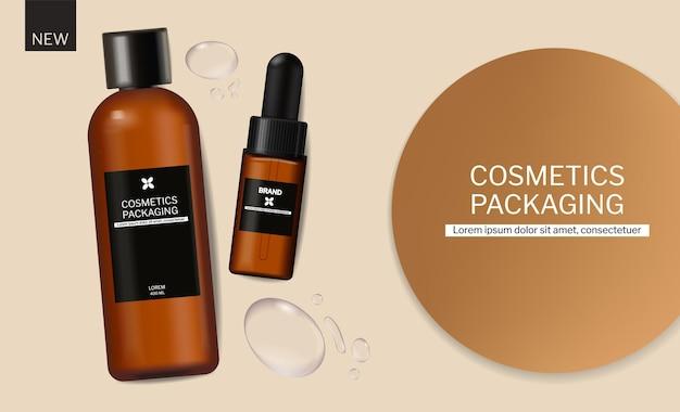 Shampoo en olie cosmetica verpakking ontwerp vector realistisch merk mock up banner waterdruppels