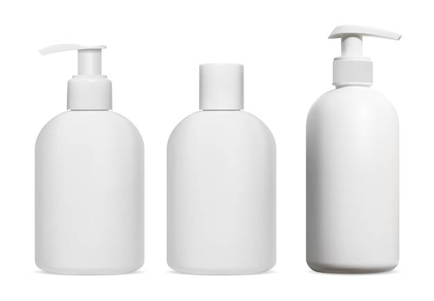 Shampoo fles. cosmetische lotion, gel, zeepdispenser leeg, geïsoleerd. ontwerp van plastic pakket voor douchecrème, badproduct. vochtinbrengende sjabloon, pompdispenser