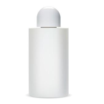 Shampoo fles. glazen cosmeticapakket.