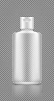 Shampoo, gel lege transparante fles mockup. ontwerp van plastic verpakkingen