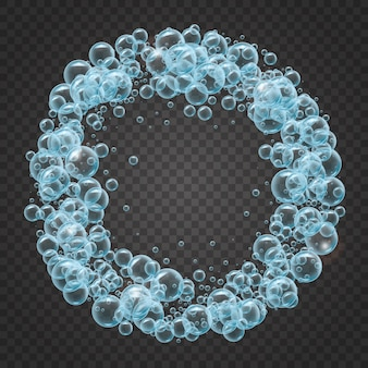 Shampooframe van realistische waterbellen