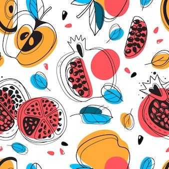 Shana tova naadloze patroon. joods nieuwjaar gelukkig rosj hasjana, herhalende tekening granaatappel, appels, bladeren vakantie ontwerp voor behang, textiel en inpakpapier, vector geïsoleerde textuur