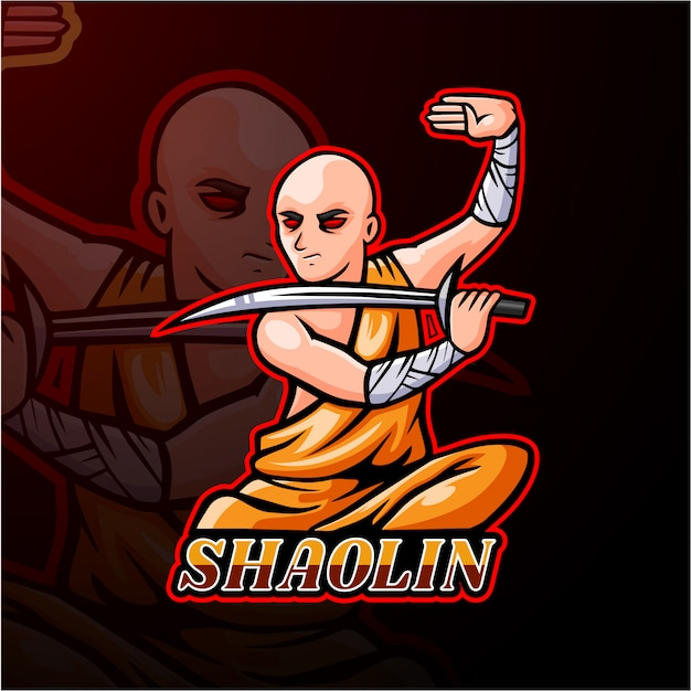 Shaolin esport logo mascotte ontwerp