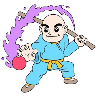 Shaolin kale jongen verzamelt energie om aan te vallen, doodle kawaii tekenen. illustratie kunst