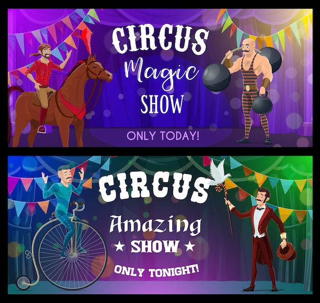 Shapito circus jongleur, goochelaar en steltenloper