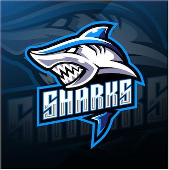 Shark esport mascotte logo ontwerp