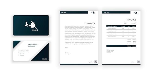 Shark-logo visitekaartje en blanco moderne minimalistische sjabloondocumentontwerpsjabloon voor kantoor