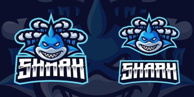 Shark swept by waves mascot gaming logo template voor esports streamer facebook youtube