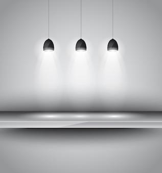 Shef met 3 spots lamp voor productreclame,