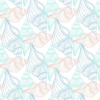 Shells vintage naadloze patroon. hand getrokken vector mariene achtergrond. kunst print