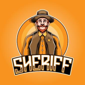 Sheriff esport mascotte logo ontwerp