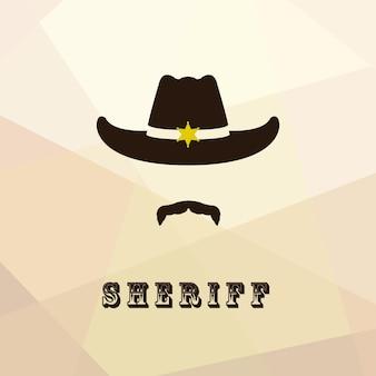 Sheriff gezicht pictogram geïsoleerd op veelkleurige achtergrond