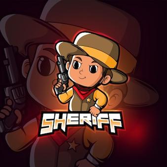 Sheriff mascotte esport logo ontwerp
