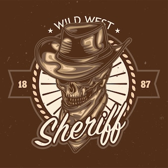 Sheriff schedel illustratie