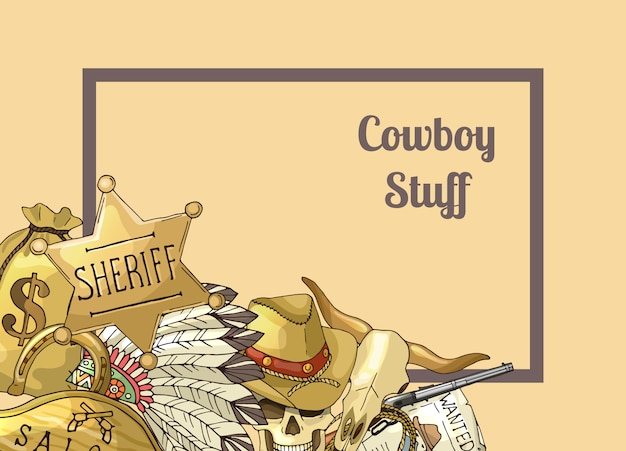 Sheriff tekstframe. hand getekend wilde westen cowboy