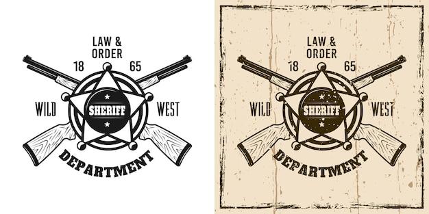 Sheriff western vector embleem, badge, label, logo of t-shirt print in twee stijlen zwart-wit en vintage gekleurd