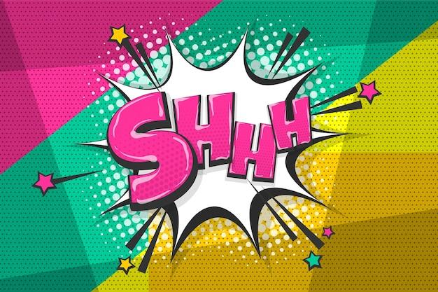 Shh stilte wow gekleurde komische tekstverzameling geluidseffecten pop-art stijl tekstballon