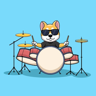 Shiba inu drummer hond muziek cartoon karakter illustratie creatief logo