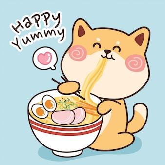 Shiba inu-hond die ramen eet