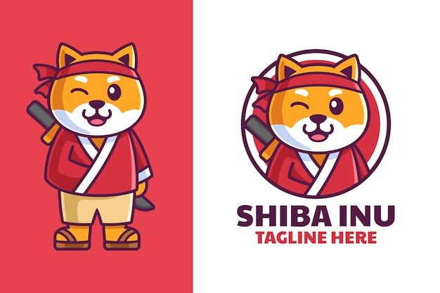Shiba inu in samurai kleding cartoon logo ontwerp