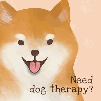 Shiba inu sjabloon vector schattige hond quote social media post, hondentherapie nodig