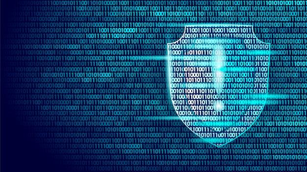 Shield guard veiligheidssysteem binaire codestroom, big data security hacker