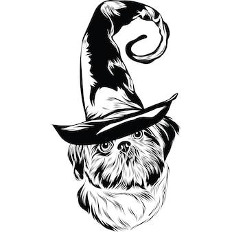 Shih tzu-hond met heksenhoed voor halloween