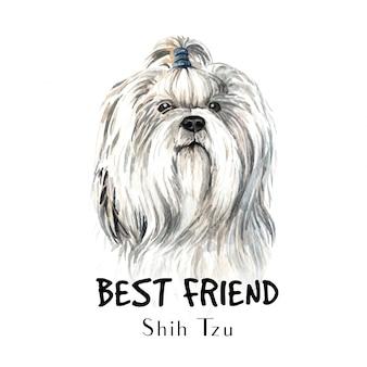Shih tzu hondenwaterverf voor afdrukken.