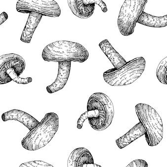 Shiitake paddestoelen. adaptogene planten met de hand geschetst naadloos patroon.