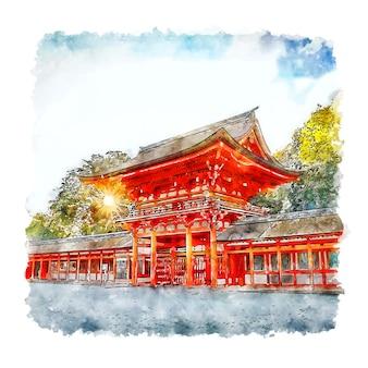 Shimogamo jinja shrine kyoto japan aquarel schets hand getrokken