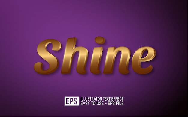 Shine 3d tekst bewerkbare stijl effect sjabloon