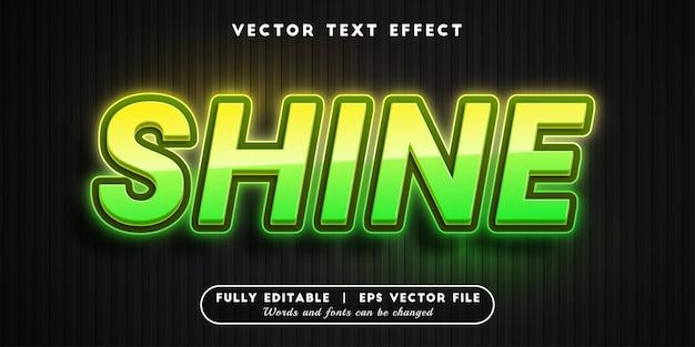 Shine text effect, bewerkbare tekststijl