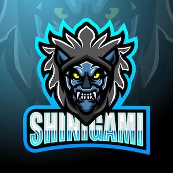 Shinigami esport logo mascotte ontwerp