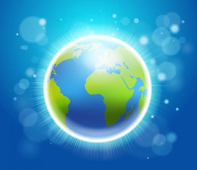 Shining earth on blue