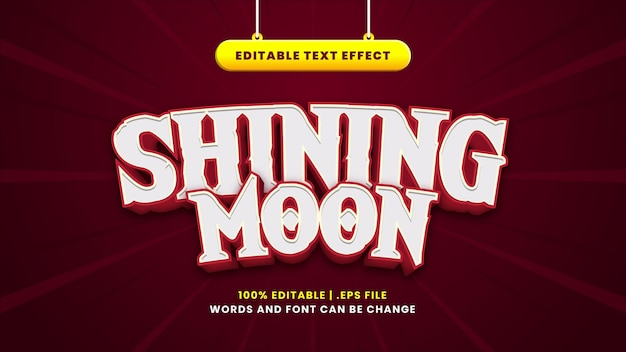 Shining moon bewerkbaar teksteffect in moderne 3d-stijl