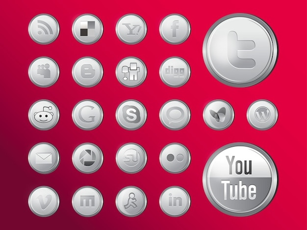 Shiny sociale media iconen vector