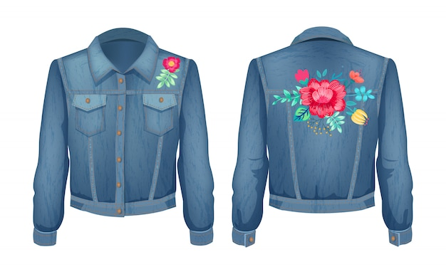 Shirt met bloemenpatches ingesteld
