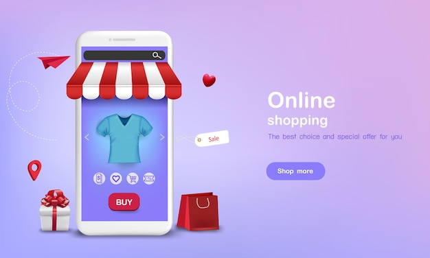 Shirt met cadeau en boodschappentas om online te winkelen