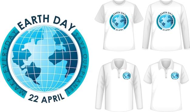 Shirt met ontwerp van de dag van de aarde
