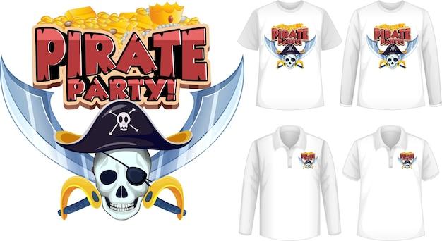 Shirt met piratenfeestje pictogram