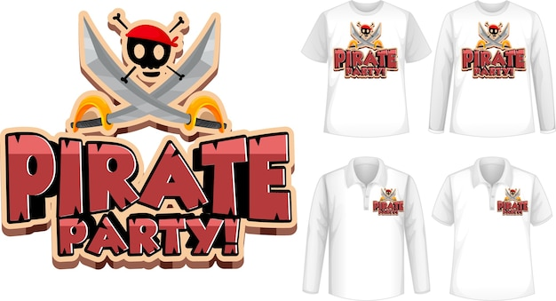 Shirt met piratenfeestje pictogram