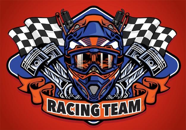 Shirt ontwerp schedel met motorcross helm raceteam
