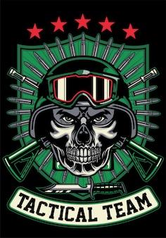 Shirt ontwerp soldaat schedel masker dragen