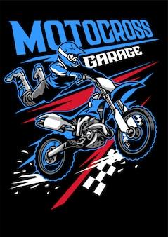 Shirt ontwerp van motorcross concept