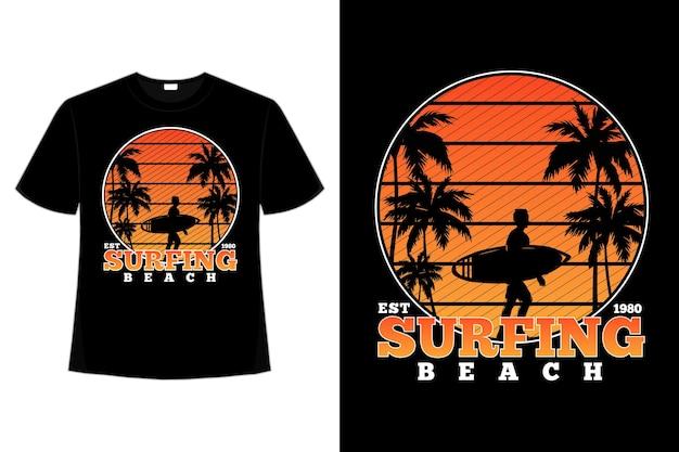 -shirt surfen strand zonsondergang retro stijl