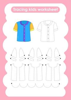 Shirt trace lijnen schrijven en tekenen oefenwerkblad voor kinderen